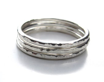 Sterling Silver Stacking Rings - Set of 3