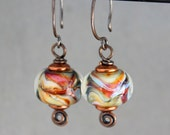Swirl Earrings, Boro Earrings, Glass Earrings, Copper Earrings, Dangle Earrings