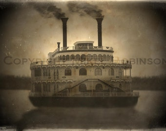 Steamboat. Steamship. Paddleboat. Original Digital Art Photograph. Wall Decor. Giclee Print. MISSISSIPPI MOONLIGHT by Mikel Robinson