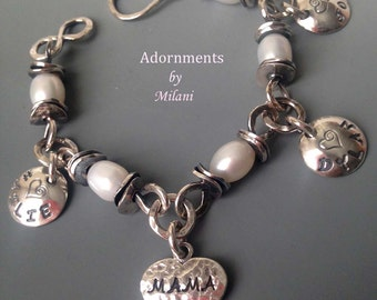 Mama Grandma Bracelet 3 Three Children Names Heart Personalized Pearls Sterling Silver Jewelry Chunky Rustic