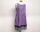 Indian cotton loose floaty smock dress summer sun dress sundress paisley floral print pink magenta aqua uk size 6 8 10 12 14 16