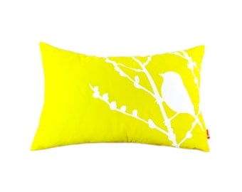 Lemon Yellow Bird on Cherry Blossom Rectangle Pillow