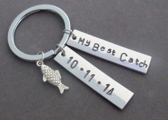 My Best Catch Key Chain,Fishing Keychain with Cute Fish Charm, My Best Catch Gift for him, Personalized Anniversary gift,Free Shipping USA