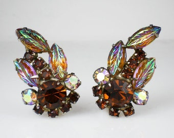 Vintage Root Beer Rhinestone Molded Glass Leaves Earrings Aurora Borealis Brown Amber Jewelry