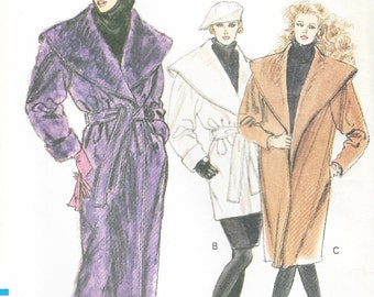 Vogue 7342 - WRAP COAT w/ Giant Shawl COLLAR - Sewing Pattern  - Sizes 14-16-18 - Uncut