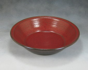 Red Deep Dish Ceramic Pie Pan Hand Thrown Stoneware Pottery 4