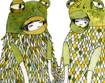 A4 or A5 Print: Friendly Froggies Giclee Print A4 A5 Limited Edition Signed and Numbered Print