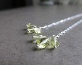 Gemstone Threader Earrings Sterling Silver Lemon Quartz Rose Quartz AAA