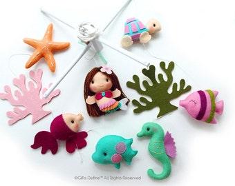 Free US Ship The Mermaid & Under the Sea Fish, Musical Baby Mobile, Ocean Theme, Custom Crib Mobile, Whimsical Modern Nautical Nursery Decor