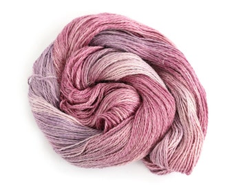 Purple DK yarn, hand dyed baby alpaca linen silk blend double knitting crochet yarn skein, Perran Yarns Blackcurrant Sorbet light worsted uk