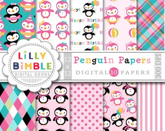 60% off Penguin digital paper with girl penguin for birthday party invites, cards INStANt Download