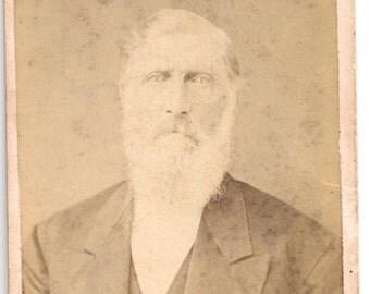 CDV William Atkins white beard Oskaloosa Iowa Duncan civil war era photo antique
