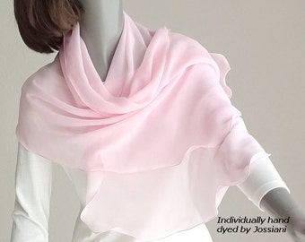 Light Carnation Pink Sheer Scarf, Pink Coverup pure mulberry silk chiffon, Petite Small S XS Shawl Wrap, Girl Scarf Hand Dyed, Artinsilk.