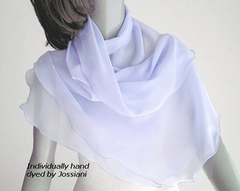 Lavender Blue Scarf, Pale Ethereal Blue, Hydrangea Lilac , Sheer Silk Coverup, Pale Blue Wrap, Silk Chiffon 10mm Unique Hand Dyed, Artinsilk