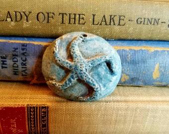 Handmade Ceramic Raku Fired Rustic Starfish Pendant Turquoise Blue Matte