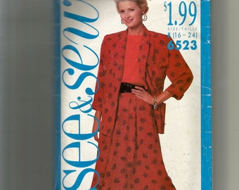 Butterick Misses' Jacket , Top and Skirt Pattern 6523