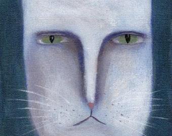 Original Cat Painting, White Cat, Outsider Art, Grumpy Kitty, Cat Folk Art, Canvas Painting, Cat Illustration, Whimsical Decor, Quirky Art