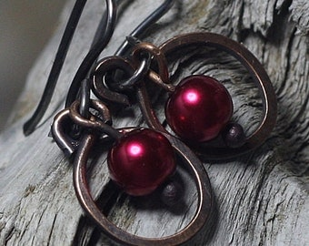 Hammered Copper Hoop Earrings Red Pearls