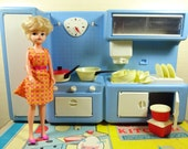Katie's Complete Kitchen - vintage blue plastic 6th scale fashion dolls kitchen set - toy play cooking cover stove working sink retro 50s