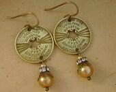 Star Struck - Vintage Houston Transit Tokens Rhinestones Pearls Recycled Repurposed Jewelry Earrings