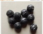 On Sale Vintage antiqued silver grey beads