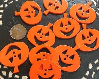 "Set of Twelve Pumpkin Buttons, 1.25"" wide by 1.375"" high (counting stem), Halloween, Jack-o-Lanterns, Orange, Card Making, Scrapbooking, Sew"