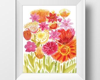 Printable Digital Watercolor Watercolour Flower Floral Art Print Digital Download
