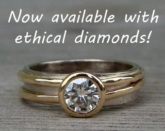 Conflict Free Diamond Engagement Ring - Lab Created Diamond, Recycled 14k Yellow Gold, and Recycled 18k Palladium White Gold - Made to Order