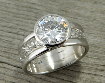 2 Carat Moissanite Engagement Ring - Huge Forever One G-H-I Moissanite & Recycled 950 Palladium, Bezel Set, Scroll Patterned Wide Band