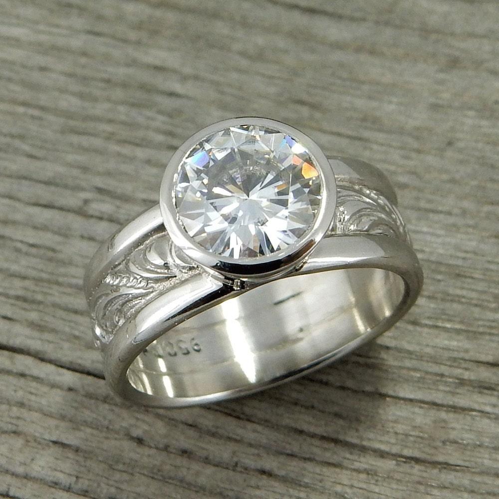 2 Carat Moissanite Engagement Ring Huge Forever e G H I