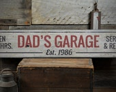 Dad's Garage Wood Sign, Personalized Open 24 Hours Service & Repair Established Date Decor - Rustic Hand Made Vintage Wooden Sign ENS1001525