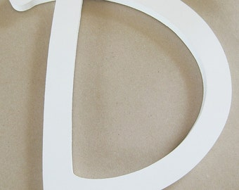 Single letter D, white, wood, wall décor, mantel décor, 9 inches, bathroom wall, nursery wall, kids wall, office wall