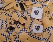 Mosaic Tiles Mix Broken Plate Art Hand Cut Pieces Supply Black Yellow And White Checker Taxi New York Solid Fillers 100