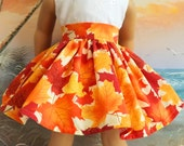 American Girl Doll Clothes Autumn Leaves Gold and Orange Very Fully Gathered 50s Style Skirt with Waistband Medley NEW Style