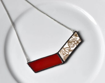 Broken China and Stained Glass Chevron Necklace - Red and Gold