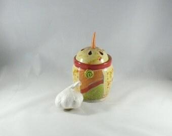 Handmade Ceramic Garlic Keeper - Storage Jar - Kitchen Gadget - Lidded Canister - Great Hostess Gift 397