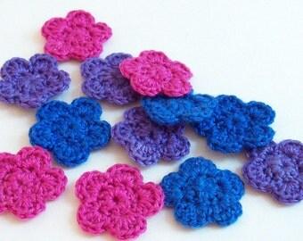 Mini Crochet Flower Applique, Pink Purple Blue Flower, Flower Embellishment, Scrapbooking, Set of 12, Miniature Flower, Crochet Flower Motif