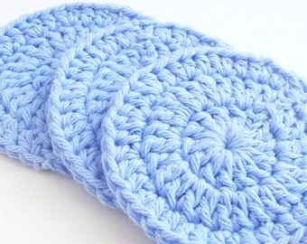 Cotton Crochet Face Scrubbies, Light Blue Scrubbies, Make Up Remover, Facial Scrubbies, Set of 3