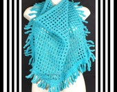 Turquoise Crochet Scarf, Crochet Triangle Scarf, Turquoise Scarf with Fringes, Tie Scarf Openwork, CENTIPEDE Tie Scarf Around Neck