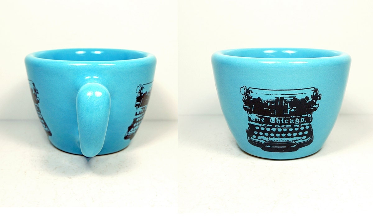 12oz cup with a Chicago typewriter print, on Cloudless blue - Made to Order / Pick Your Colour