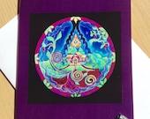 Visioning Mandala Dream House  Mandala Greeting Card - Home as Sanctuary Blank Art Card Colored Pencil Drawing- Blank-