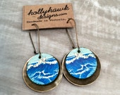 Leather & Antique Brass Earrings Ocean Wave with Digital Photo Print on 100% Genuine Leather