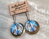 Leather & Antique Brass Earrings Owls Digital Photo Print on 100% Genuine Leather * SALE * Coupon Codes