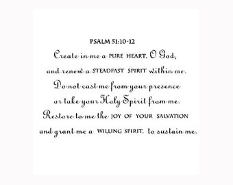 Create in me a pure heart - UNMOUNTED rubber stamp, bible verse Psalm 51:10-12, No.6