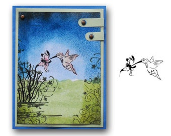 Hummingbird - UNMOUNTED rubber stamp, humming bird, summer, flower, Sweet Grass Stamps No.9