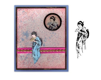 Coy GEISHA UNMOUNTED rubber stamp, Japanese lady, entertainer, performing artist, geiko, artisan, woman, Sweet Grass Stamps No.12