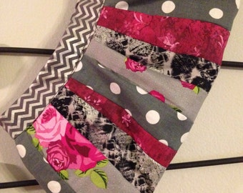 Ruffle Wristlet, greys, silver, roses