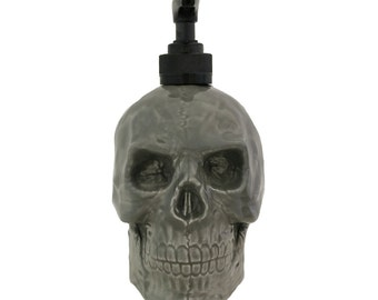 Ceramic Skull Pump Soap Dispenser in Gray Pirate Skull Ware for Bath Vanity or Kitchen Counters with Choice of Black or White Pump Unit