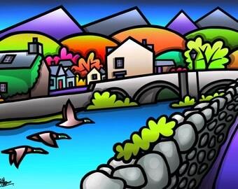 Ducks Over Beddgelert - colourful fine art print by Amanda Hone