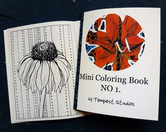 Mini Coloring Book by Tempest Studios, Printable Adult Kids Flowers Portable